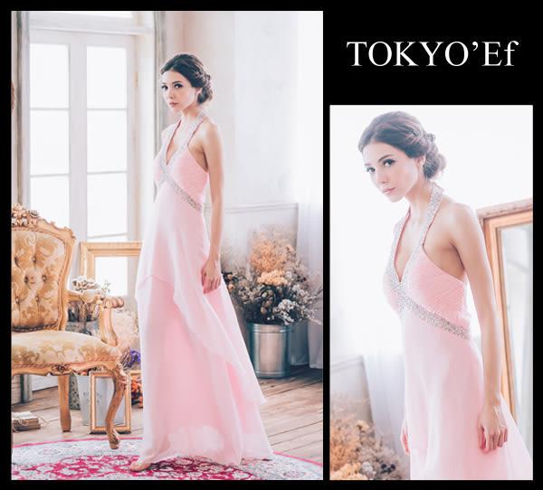 東京衣服 V字交錯肩帶 腰肩亮片抓褶緞面長禮服 新娘 送客 亮粉色