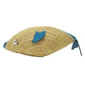 LOEWE 羅威 藍色牛皮拚藤編海魚造型肩背斜背包 【二手名牌BRAND OFF】