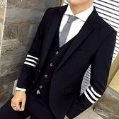 西裝套裝含西裝外套+西裝褲(三件套)-休閒雙邊三槓條紋伴郎男西服2色73hc38[時尚巴黎]