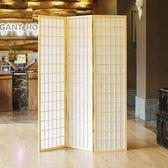 屏風 式無紡布木格實木折疊和風拍攝 料理店隔斷  三扇 xw