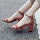 中粗跟露趾高跟鞋女一字帶扣涼鞋女