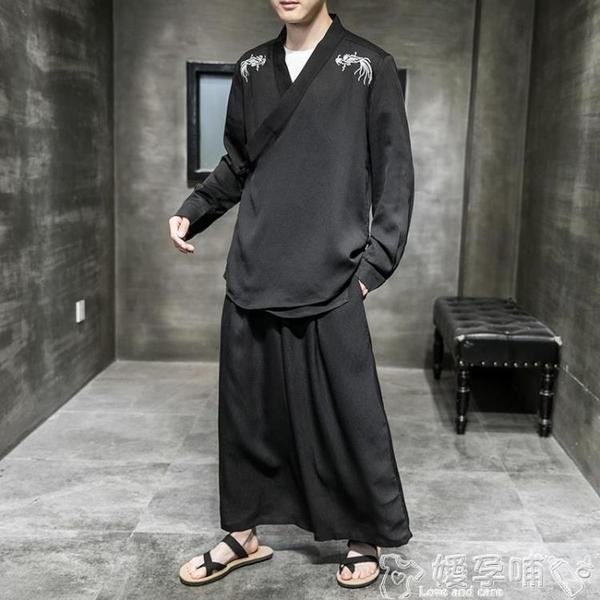 居士服男士古風漢服仙氣道袍薄款古裝冰絲唐裝套裝中國風男裝潮居士服夏 噯孕哺