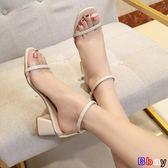 [Bbay] 一字涼鞋 百搭 粗跟 法式高跟鞋 一字扣帶 露趾 仙女涼鞋