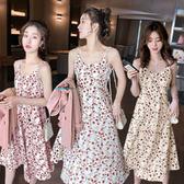 碎花洋裝 碎花吊帶連身裙女新款夏季時尚A字裙韓版時髦中長裙修身流行 交換禮物