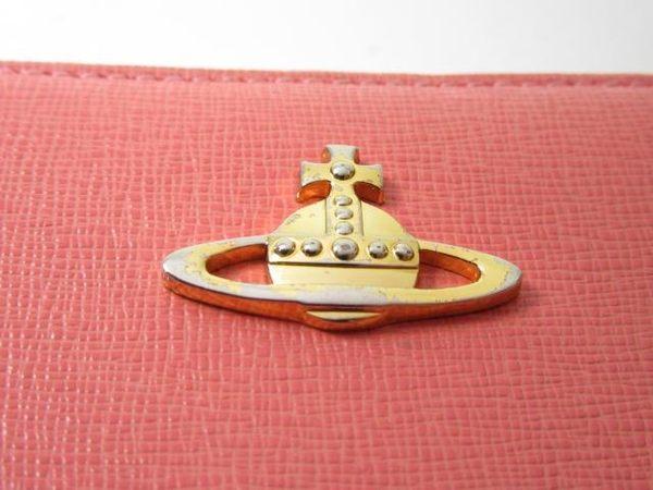 Vivienne Westwood 橘色牛皮金色LOGOㄇ字型拉鍊長夾 【BRAND OFF】