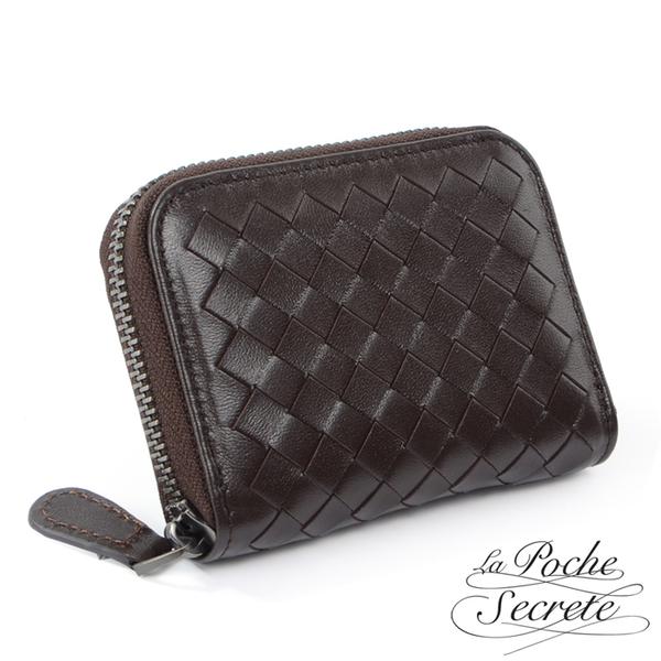 La Poche Secrete 編織小羊皮拉鍊卡夾包-深咖啡 GL-3002