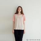 【GIORDANO】女裝牛角袖圓領T恤 - 30 亞麻淺杏X桃皮絨粉
