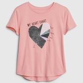 Gap女童棉質舒適圓領短袖T恤546074-奶白珊瑚色