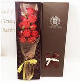 11朵33朵玫瑰香皂花束禮盒創意母親節禮品送女友送朋友生日禮物(11朵網紗紅)