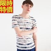 短袖T恤-圓領粗條紋休閒棉麻流行男亞麻T恤69f27【巴黎精品】