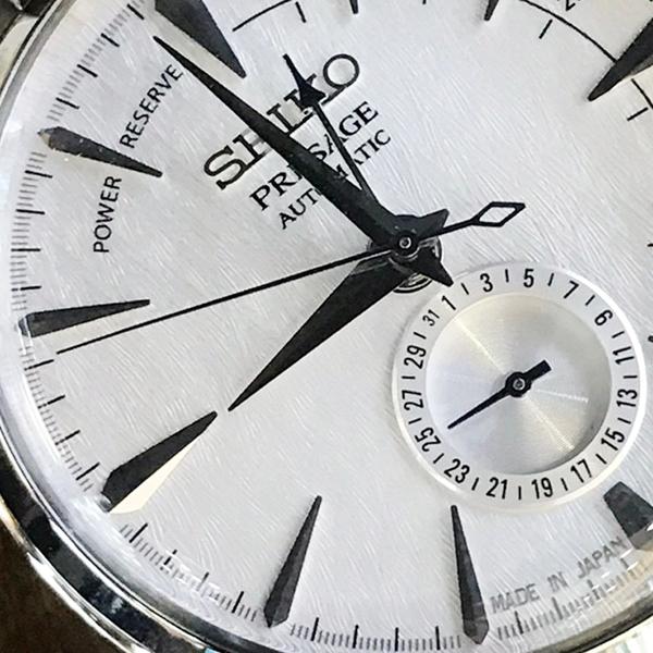 [萬年鐘錶]  PRESAGE 精工4R35 機械 男款 雪跡錶面 限量錶 日期 銀殼 銀鋼帶 SSA385J1 (4R57-00K0S)