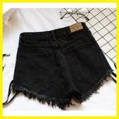 尾牙年貨節黑色綁帶高腰牛仔短褲女修身顯瘦春夏熱褲洛麗的雜貨鋪