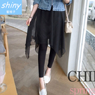 【V0006】shiny藍格子-時髦新貌.假二件不規則裙擺鬆緊腰裙褲