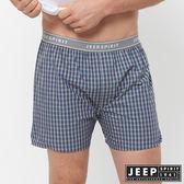【JEEP】五片式剪裁 純棉平口褲(藍紫格紋)