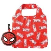 〔小禮堂〕漫威英雄 Marvel 蜘蛛人 折疊尼龍環保購物袋《紅黑》手提袋.環保袋 4992272-67767