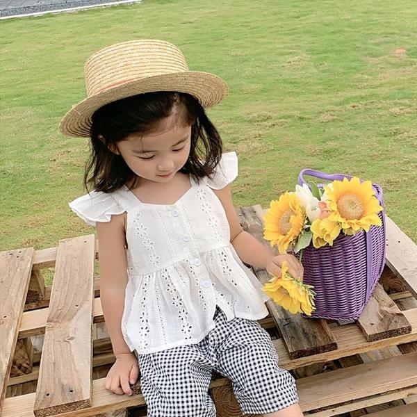 童裝2021夏裝新款女童小飛袖上衣寶寶洋氣無袖T恤打底衫 茱莉亞
