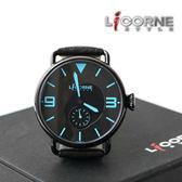 力抗LICORNE原廠公司貨 獨特藍極光 極簡刻度手錶真皮錶帶 柒彩年代【NE835】 LI028BBBB