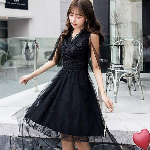 青春可人紗網寬袖甜美中長宴會正式洋裝 [98765-QF]小三衣藏