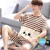短袖衣服 睡衣男夏季純棉短袖薄款卡通青少年學生男士家居服套裝夏天加大碼