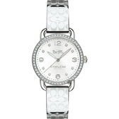 COACH 水晶手鐲logo錶帶女腕錶/銀14502765