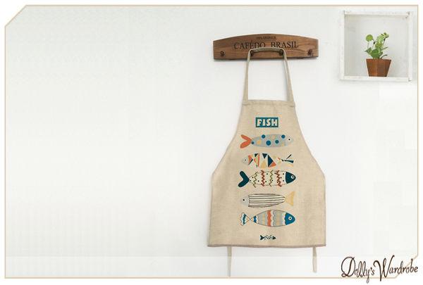 ☆Dolly生活館*╮廚房用品 可愛無袖印花後綁帶 白底彩色魚 棉麻圍裙/居家工作服 20055
