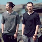 優一居 棉麻上衣男 中國風寬鬆復古半袖T恤(4色 M-4XL)
