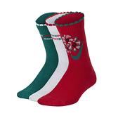 Nike Y EVERYDAY CUSH CREW 3PR GI紅白綠 兒童 三雙入 聖誕節 長襪 CQ0976-909