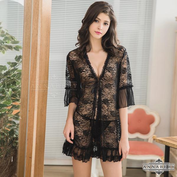 情趣 性感 夜店 派對 酒店 ★大尺碼Annabery魅惑黑色透視柔紗罩衫丁字褲二件組★黑色┌NY14020017