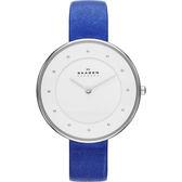 Skagen 美式極簡風尚女錶-白x藍/38mm SKW2172