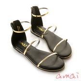 amai《12星座 – Libra天秤座》後拉式三環金屬涼鞋 黑
