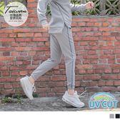 《KS0446》台灣製造~抗UV鬆緊抽繩拼接印花運動縮口褲 OrangeBear