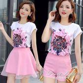 夏季套裝 夏季新款時尚女裝兩件套甜美小清新短袖印花上衣闊腿短褲套裝 果果輕時尚