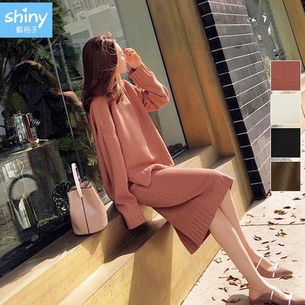【V2727】shiny藍格子-簡約大方.開衩針織上衣+下開衩針織裙