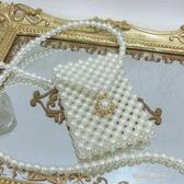 珍珠包ins珍珠迷你小方包女復古vintage斜背包手工編織包零錢包腰包 凱斯盾