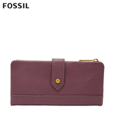 FOSSIL LAINIE 含零錢匣扣帶勃艮第紅長夾 SWL2060503