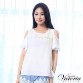 Victoria  挖肩LOGO荷葉短袖T-女-白色
