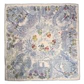HERMES Le Jardin de Leila花園羊毛混絲披肩圍巾140cm(麻藍色)370047