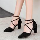 粗跟鞋.MIT名媛時尚交叉綁帶高跟鞋.白鳥麗子