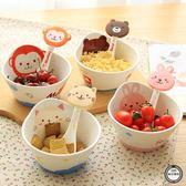 兒童餐具可愛卡通陶瓷碗日式創意寶寶小碗家用餐具套裝兒童吃飯碗免運