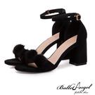 涼鞋 一字繫踝毛球球粗跟涼鞋(黑)*BalletAngel【18-718bk】【現貨】