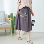 【慢。生活】蜻蜓刺繡棉麻長裙-F 30306 FREE灰色
