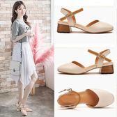 涼鞋大東旗艦店一字扣帶粗跟女鞋夏季新款韓版包頭中低跟仙女涼鞋 印象部落