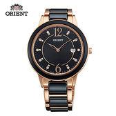 ORIENT 東方錶 DRESS系列 簡約晶鑽陶瓷石英錶 陶瓷鋼帶款 FGW04001B 黑色 - 38.5mm