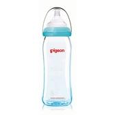 貝親 Pigeon 矽膠護層寬口母乳實感玻璃奶瓶240ml/藍(M奶嘴)P26738M[衛立兒生活館]