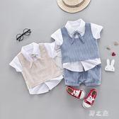 兒童西裝 男童英倫禮服套裝2夏季西服三件套3寶寶4歲小孩夏裝潮 qz4934【野之旅】