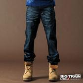 BIG TRAIN 低腰鬚邊繡花垮褲-男-深藍