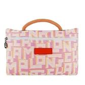 【南紡購物中心】LONGCHAMP ROSEAU系列LGP編織滿版手提收納包(玫瑰粉)