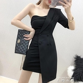 法式名媛氣質小黑裙性感抹胸修身顯瘦洋裝女2021夏季新款短裙子