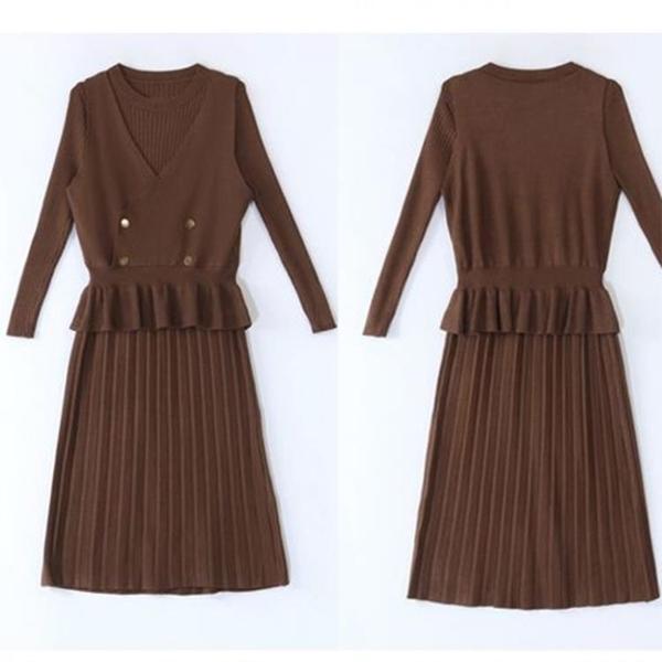 OL洋裝 針織秋季兩件套女士氣質馬甲配裙子套裝連身裙秋冬季職業毛衣裙子 薇薇
