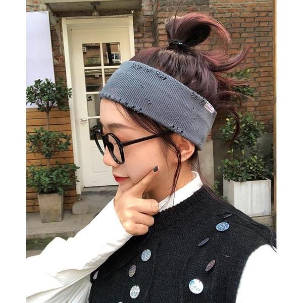 2021新品促銷 小物家家街頭個性破洞發帶女ins韓版百搭外出發箍針織寬邊頭帶